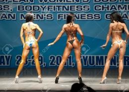 Tyumen, Russia - May 28, 2011: European Women Bodybuilding, Fitness, Bodyfitness, Bikini and Men Fitness Championships. Prejudging - Morning session. Back view